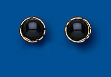 Gold Round Studs ONYX 6mm 9ct Yellow Gold EARRINGS AP0283