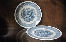 Vintage 1970's Currier & Ives by ANCHOR HOCKING Set of 2 Blue Dinner Plates