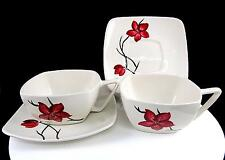 """ORCHARD WARE #ORC1 4 PIECE RED FLOWER AND BLACK BRANCH SQUARE 2"""" CUPS & SAUCERS"""