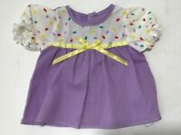 Vintage DOLL Summer Dress handmade old antique dolls clothes~Violet/White/Yellow