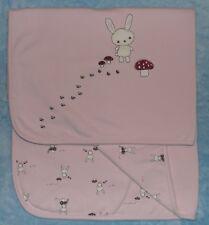 Gymboree Pink Bunny Rabbit Mushroom Baby Receiving Blanket 2004