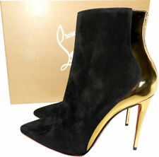 Christian Louboutin DELICOTTE Black Gold Boots Ankle Suede Booties Shoes 37