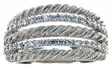 Judith Ripka Clear Diamonique Textured Highway Sterling Silver Ring size 6