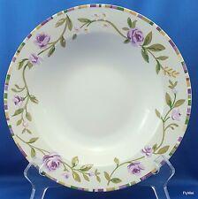 "Laura Ashley Grapefields Rimmed Soup Pasta Bowl  9"" Purple Floral Band"