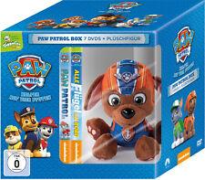 7 DVDs * PAW PATROL BOX - DVD VOL. 1 - 7 (TOGGOLINO) INKL. PLÜSCH HUND ZUMA