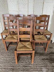 Set Of 8 M&s Hemsley Dark Oak Ladder Back Vintage Rush Chairs Dining Kitchen