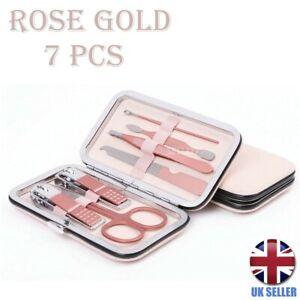 7 Pcs Manicure Pedicure Cuticle Kit Nail Care Clipper Cutter Case Rose Gift Set