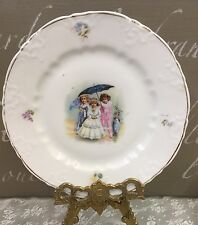 """Antique Child's Plate 7"""" First Communion Or Bride With Friends Victorian Scene"""