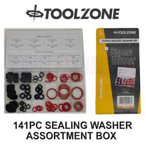 Toolzone 141pc Sealing Washer Assortment Box Plumbers Washers Rubber Washers