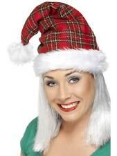 Tartan Santa Hat,  One Size, Christmas Fancy Dress #AU