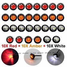 "10X Red 10X Amber 10X White Mini 12V 3/4"" Round Side 3 LED Marker Trailer Light"