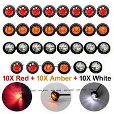 """10X Red 10X Amber 10X White Mini 12V 3/4"""" Round Side 3 LED Marker Trailer Light"""