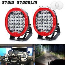 Pair 185W LED Work Light Headlight Bar Flood Spot Offroad Driving Lamp Car Truck