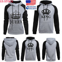 Lover Couple King And Queen Long Sleeve Hoodie Jumper Sweater Tops Pullover Tee