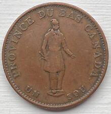 1837 Province of Canada Un Sou Half Penny Bank Token SB6278