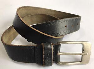 """Mens Black Leather Belt 32 34"""" 36"""" 100% Leather Vintage"""