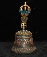 Old Tibet Buddhism temple bronze Cinnabar Kwan-Yin Buddha head Pray Bell Zhong