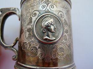 Antique Rare Coin Silver Medallion Cup Mug Scrollwork  5 Coin