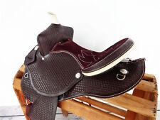 "15"" WESTERN LEATHER HORSE COWGIRL BARREL RACING PLEASURE TRAIL SADDLE TACK"