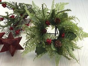 Set of two mini farmhouse Christmas holiday wreaths, Kitchen cabinet wreaths