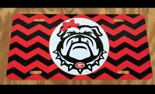 Georgia Bulldogs License Plate Metal Chevron Bulldog Head UGA Tag