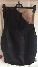 Stunning Brand New 100% Silk Asos Blush pink black lace little wrap dress sz 12