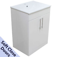 BATHROOM UNIT WHITE VANITY BASIN CABINET SINK 600MM FURNITURE SQUARE NEW
