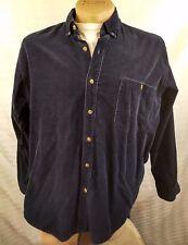 Vtg Northwest Territory Brand Dark Blue Long Sleeve Men Shirt Corduroy Size Xlt