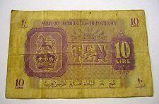 1943 *LIBYA* MILITARY AUTHORITY IN TRIPOLITANIA 10 LIRE NOTE