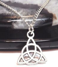 """CELTIC KNOT_Small Pendant + 18"""" Chain Necklace_Triquetra Irish Trinity Pagan_46N"""