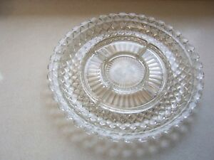 "Vintage Depression Glass Clear Diamond Cut 14"" Round Divided Plate Platter Tray"