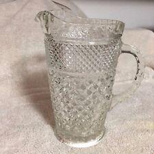 Vintage Clear Heavier Cut Glass Pitcher Diamond Shape~~ Wonderful Condition ~~