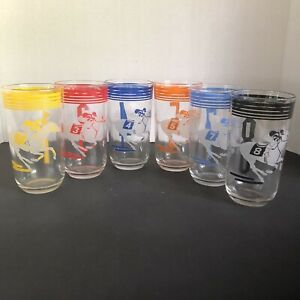 6 Jockey High-Ball Horse Racing Glasses Vintage Numbered Tumblers Derby Rare
