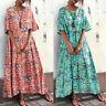 ZANZEA Womens Summer Short Sleeve Beach Dress Floral Printed Party Dress Kaftan