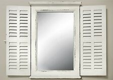 Wall Mirror White with Window Shutters Mirror Wood Cottage Window