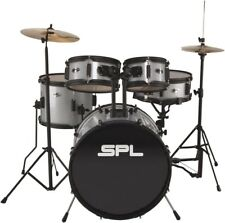 Sound Percussion Labs Kicker Pro 5 Piece Drum Set w/Stands Cymbals Thrne Silver