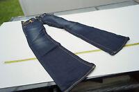 TRUE RELIGION Damen Stretch Hose Jeans Schlag Gr.26 stone wash darkblue TOP #37