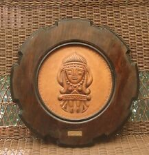 Vtg Handcrafted Colombian Leather Aztec Sculpture in Wood Frame - 19""
