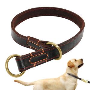 Pet Dog Collar Slip P Choke Collar Soft Leather Adjusatble for Medium Large Dogs
