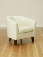 Luxury Bonded Leather Vintage Club Chair Backed Armchair Sofa Seat Chairs Cream