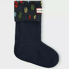 HUNTER Kids Youth L 1-3 Winter Rain Boot Socks Blue Bugs Ladybird NIB