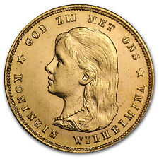 1897 Netherlands Gold 10 Guilder Wilhelmina Flowing Hair AU - SKU #28432
