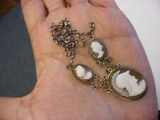 Antique Vtg Victorian Art Nouveau Three Shell Cameo Necklace