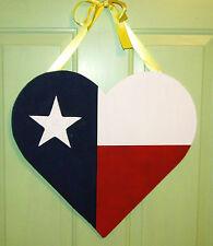TEXAS FLAG Door Hanger Decor Patriotic Wreath Deep In The Heart of Texas
