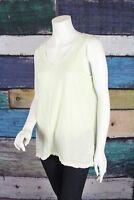 J. Jill Medium M Green White Cotton Sun-Bleached Slub Knit Tank Top Tunic Shirt