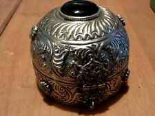 Antique/Vintage Silver plate Jewellry box with Cabouchon's + Embossed decoration