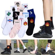 Fashion Women Men Funny Cotton Socks Harajuku Fire Print Unisex Short Socks New
