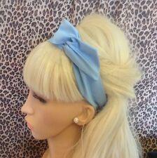 Bleu poudre coton uni Bendy Fil Câblé Cheveux Écharpe Foulard Bandeau 50s rétro