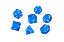 Dice Translucent Set of 7 Blue Dice