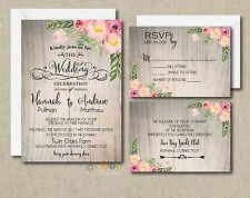 100 Personalized Watercolor Rustic Floral Botanical Wedding Invitation Suite